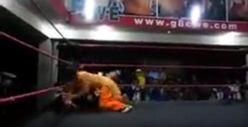 WWE Wrestler falls flat